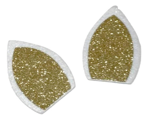 "White & gold glitter 3"" unicorn ear padded appliqués - MAE Inspirations"