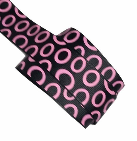 "Black w/ hot pink open polka dots 1"" grosgrain ribbon - MAE Inspirations"