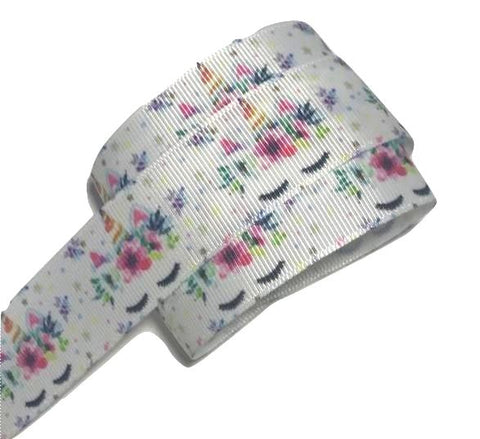 "White floral unicorn face printed 1"" grosgrain ribbon - MAE Inspirations"