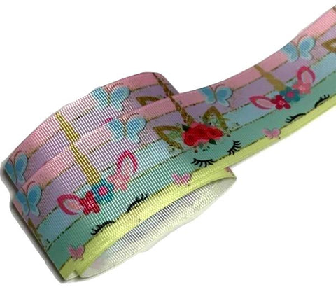 "Rainbow unicorn sleep face printed 1.5"" grosgrain ribbon - MAE Inspirations"