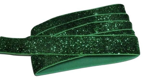 "Emerald green 5/8"" frosted glitter elastic"