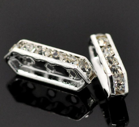 21x7mm silver plated rhinestone spacer bar beads w/ flat edges / 5-10 pieces - MAE Inspirations