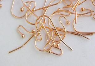 Rose gold plated ball end French hook ear wires 21mm X 12mm / 1 pair - 10 pairs - MAE Inspirations