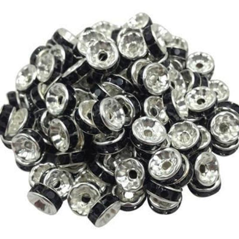 8mm silver plated black rhinestone spacer beads w/ flat edges / 5-10 pieces - MAE Inspirations