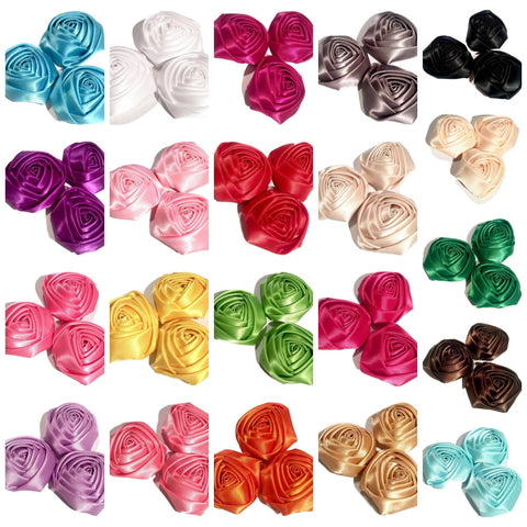"GRAB BAG 2"" satin rolled rosette flower / +5-30 flowers - MAE Inspirations"