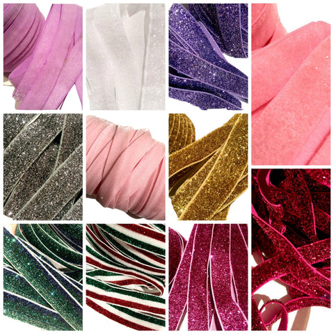 GRAB BAG frosted GLITTER elastic FOE / 5-25 yards - MAE Inspirations