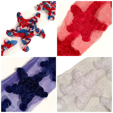 "GRAB BAG Red, white & blue 2"" shabby chiffon star rose trim 4th of July / 4-20 pieces - MAE Inspirations"
