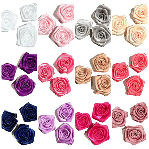 "GRAB BAG 1.5"" satin ribbon rolled rosette flower / 5-20 pieces - MAE Inspirations"