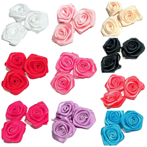 "GRAB BAG 1"" satin ribbon rolled rosette flower / 5-20 pieces - MAE Inspirations"