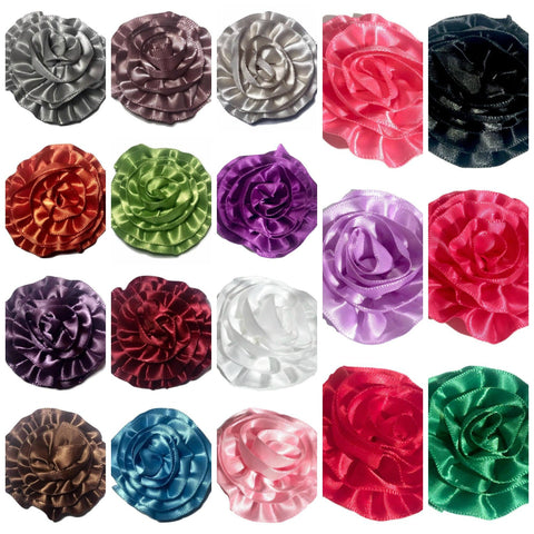 "GRAB BAG 2"" satin ruffle rolled rosette flower / 5-20 flowers - MAE Inspirations"