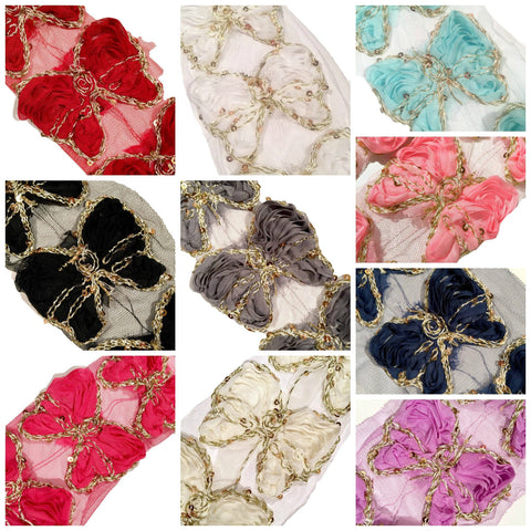 "GRAB BAG 3"" sequin butterfly shabby chiffon rose trim / 3-20 pcs - MAE Inspirations"