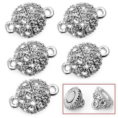 15x9mm silver plated rhinestone magnetic clasp - MAE Inspirations