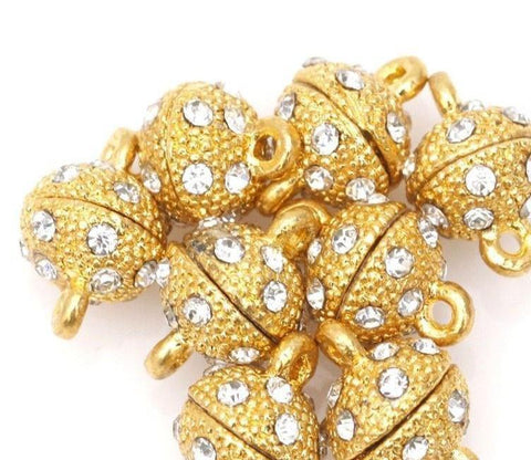 15x9mm gold plated rhinestone magnetic clasp - MAE Inspirations