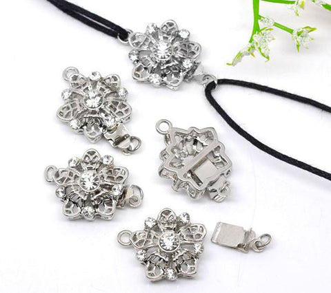 22x17mm silver plated rhinestone pinch push clasp - MAE Inspirations