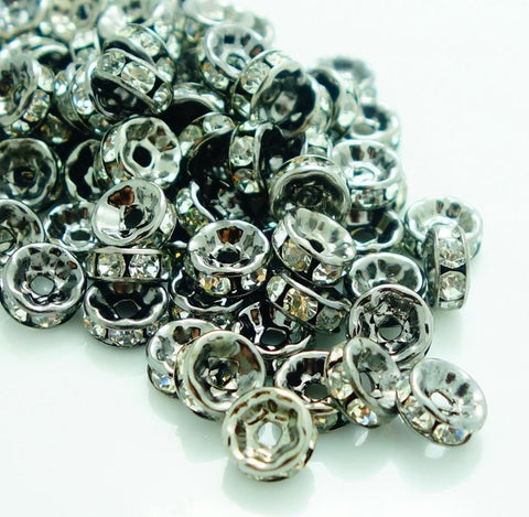 8mm gunmetal rhinestone spacer beads w/ flat edges / 5-10 pieces - MAE Inspirations