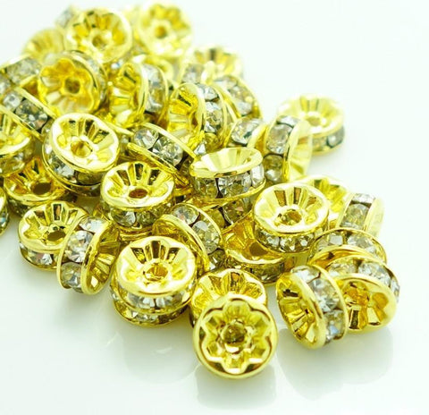 8mm gold plated rhinestone spacer beads w/ flat edges / 5-10 pieces - MAE Inspirations
