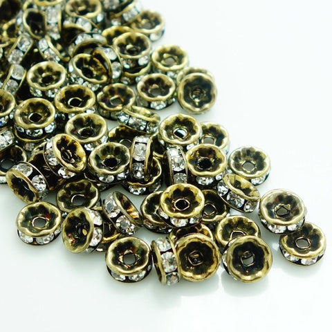 6mm bronze rhinestone spacer beads w/ flat edges / 5-10 pieces - MAE Inspirations