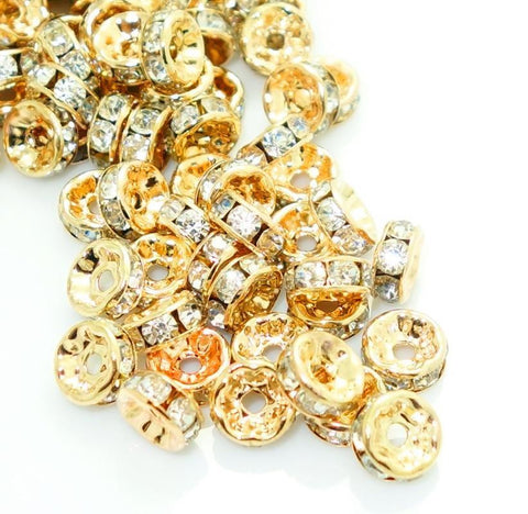 8mm rose gold plated rhinestone spacer beads w/ flat edges / 5-10 pieces - MAE Inspirations