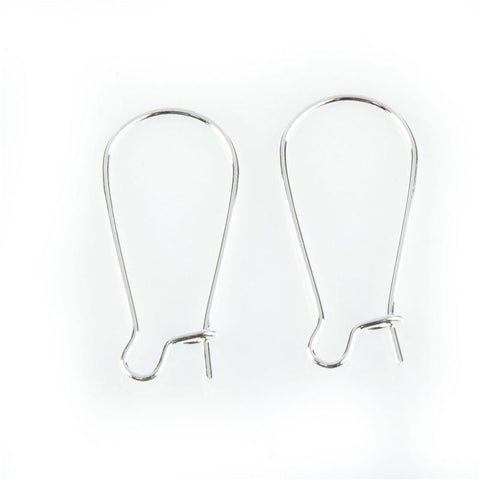 Silver plated kidney hook ear wires 25mm X 11mm / 1 pair - 10 pairs - MAE Inspirations