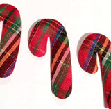 Red plaid candy cane Christmas padded felt appliqués - MAE Inspirations