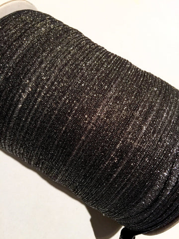 "Black with light silver 5/8"" metallic FOE Fold over elastic - MAE Inspirations"