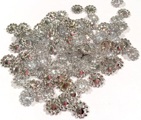 12mm clear acrylic rhinestone flat back button - MAE Inspirations  - 1