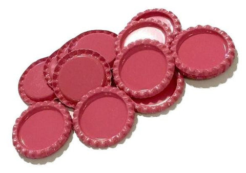Hot pink flattened bottle caps - MAE Inspirations