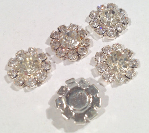 12mm clear metal rhinestone flat back button - MAE Inspirations  - 2