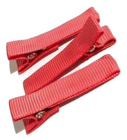 "Coral partially lined alligator clips 1.8"" - MAE Inspirations"