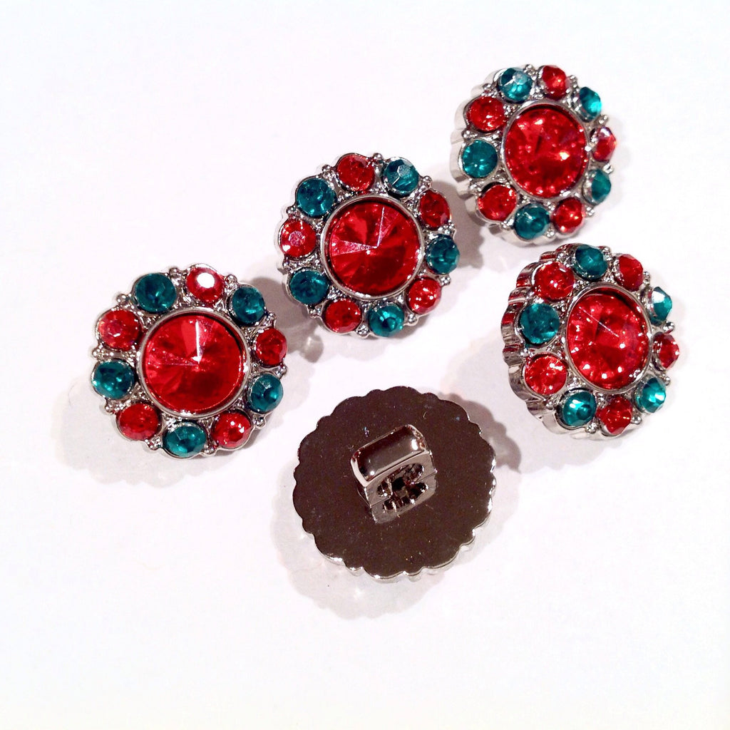 15mm red & green Christmas acrylic rhinestone button - MAE Inspirations