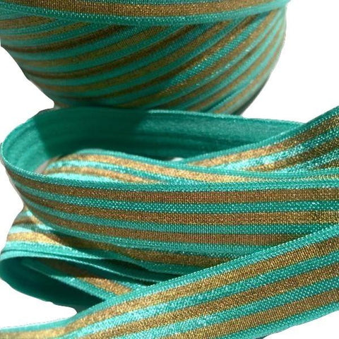 "Aqua green w/ metallic gold stripe print 5/8"" fold over elastic FOE - MAE Inspirations"