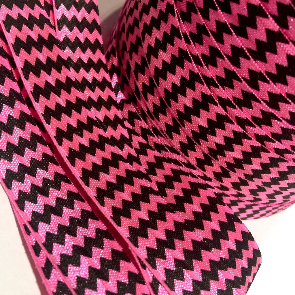 "Neon pink & black chevron printed 5/8"" fold over elastic FOE - MAE Inspirations"