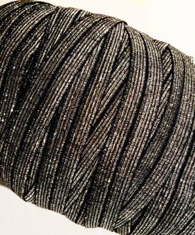 "Black with silver 5/8"" metallic FOE Fold over elastic - MAE Inspirations"