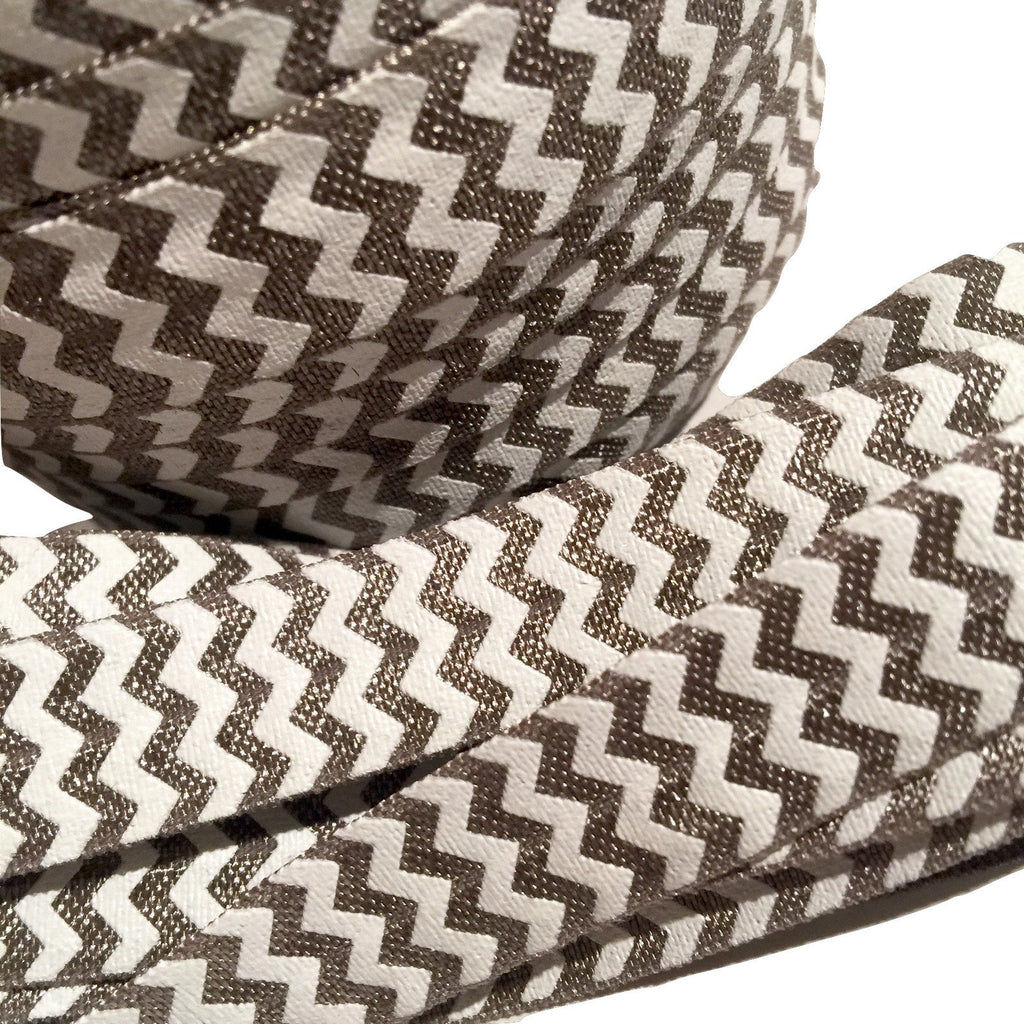 "Smokey gray chevron printed 5/8"" fold over elastic FOE - MAE Inspirations"
