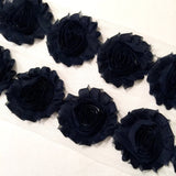 "Navy blue 2.5"" shabby chiffon rose trim - MAE Inspirations"