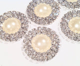 25mm Pearl double row rhinestone metal flat back button - MAE Inspirations