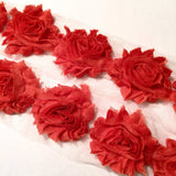 "Burnt orange 2.5"" shabby chiffon rose trim - MAE Inspirations"