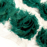 "Dark emerald green petite 1.5"" shabby chiffon rose trim - MAE Inspirations"