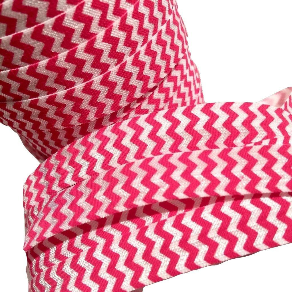 "Hot pink chevron printed 5/8"" fold over elastic FOE - MAE Inspirations"