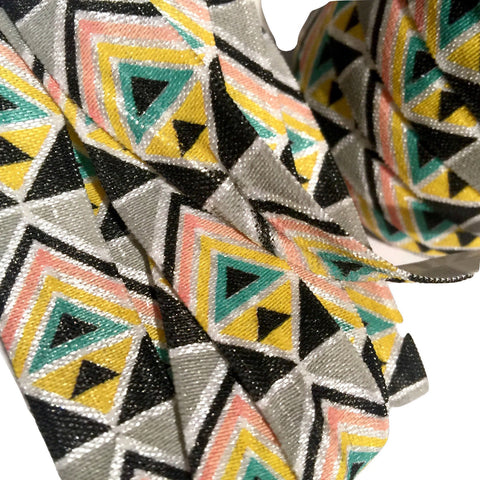 "Black, pink, yellow & gray tribal Aztec print 5/8"" fold over elastic FOE - MAE Inspirations"