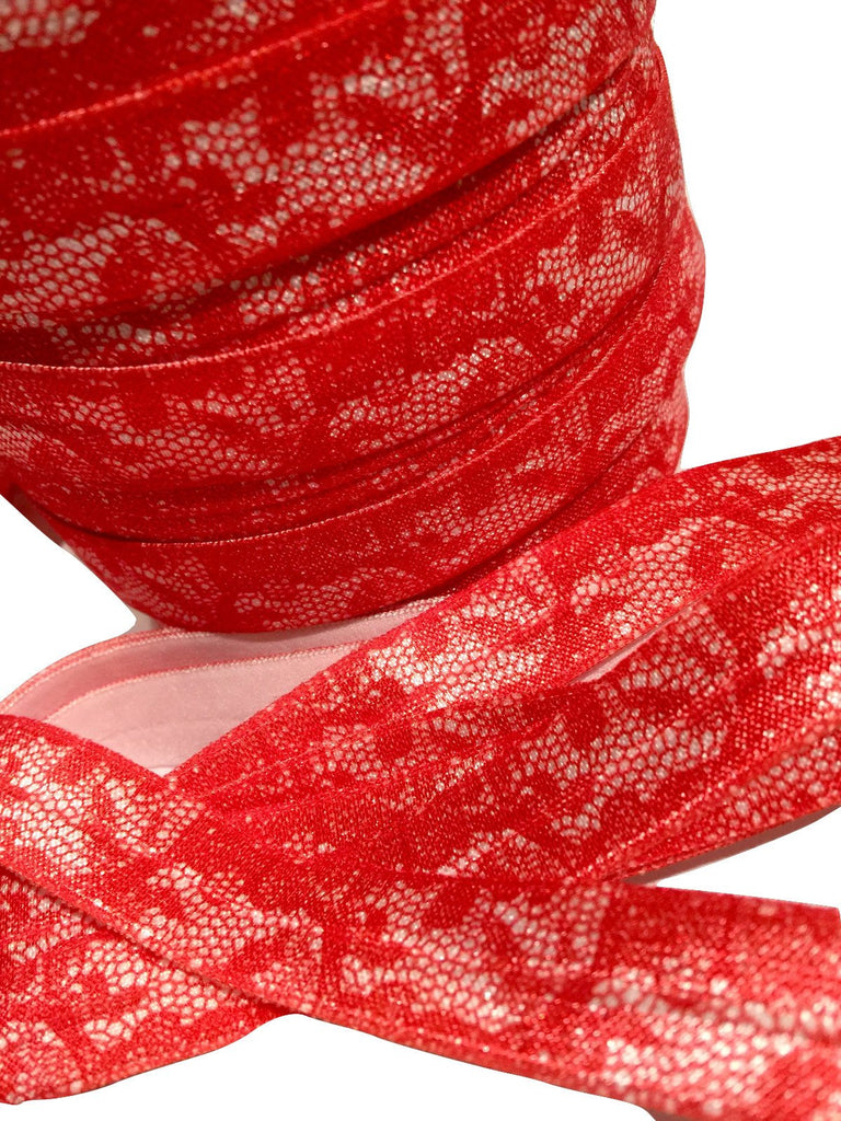 "Red lace printed 5/8"" fold over elastic FOE - MAE Inspirations"