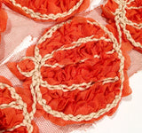 "Orange 3"" shabby chiffon rose pumpkin trim - MAE Inspirations"