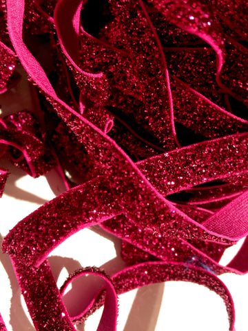 "Hot pink 3/8"" frosted glitter elastic - MAE Inspirations"