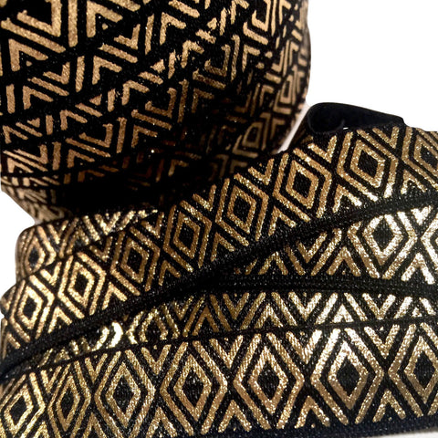 "Black w/ metallic gold diamond print 5/8"" fold over elastic FOE - MAE Inspirations"