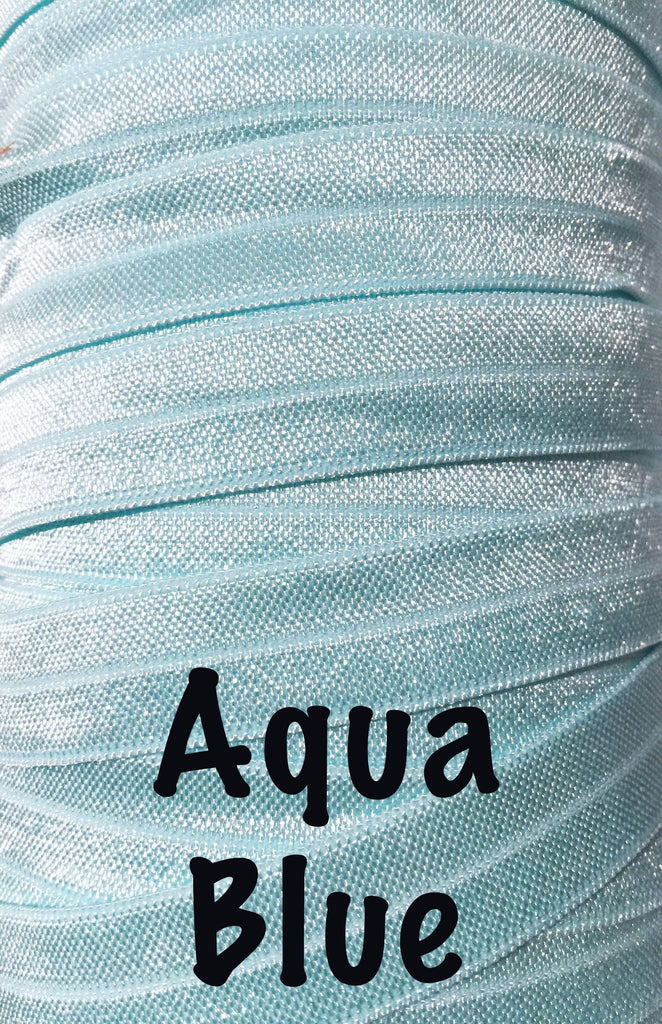 "Aqua blue 5/8"" fold over elastic FOE - MAE Inspirations"