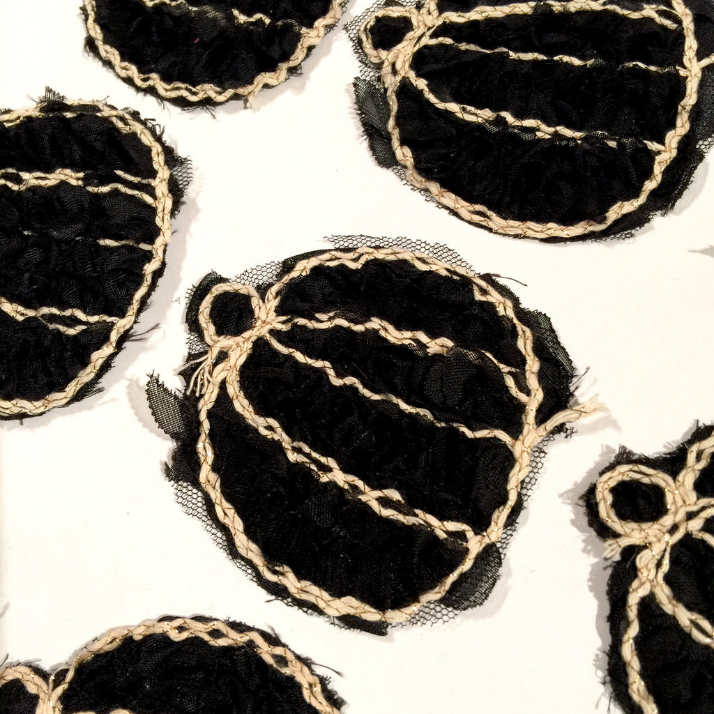 "Black 3"" shabby chiffon rose pumpkin trim - MAE Inspirations"