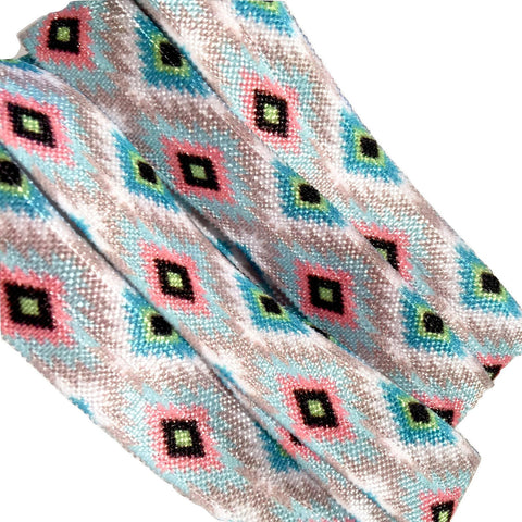 "Aqua blue, gray & pink tribal Aztec print 5/8"" fold over elastic FOE - MAE Inspirations"