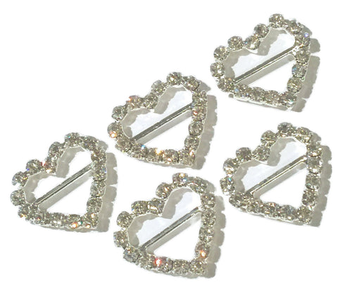 20x17mm heart rhinestone ribbon sliders - MAE Inspirations