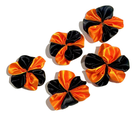 "Black & orange Halloween 1.5"" satin petal flower - MAE Inspirations"