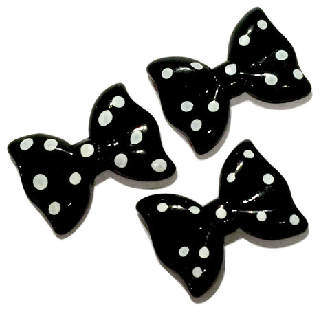 Black polka dot bow resin cabochon 27x20mm / 1-5 pieces - MAE Inspirations